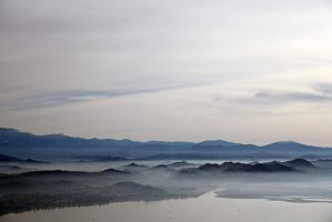Lake Elsinore Morning Fog by DoomWillFindYou