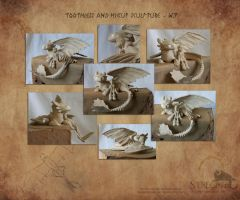 Toothless and Hiccup Sulpture WIP by Strecno