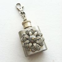 Small Glittery Silver Steampunk Flask Keychain by NBetween