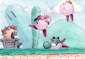 Kirby teams up to play Mario by Kokiri-kun