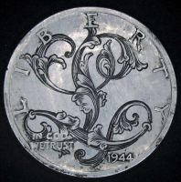 Hand Engraved Silver Dime  J.M. Bergling Design by shaun750