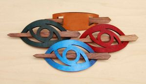 Leather Barrettes by DracoLoricatus