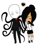 Chibis-comision : Naily and Slenderman. by nekosera