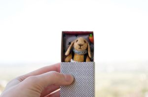 bunny in tweed matchbox by freedragonfly