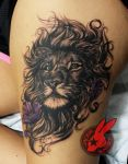Lion Flower Portrait Tattoo by Jackie Rabbit by jackierabbit12