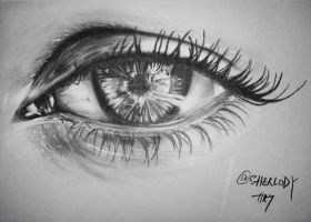 Pencil Sketching/Drawing beautiful eye by Sherlody