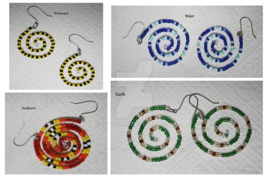 Glass Bead Spiral Earrings by Sly-Foxx