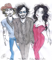Depp-Burton-Carter by DemonCartoonist