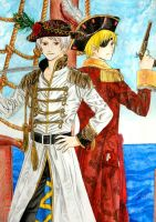 Pirate!Prussia and Pirate!England by hanakoofthejungle