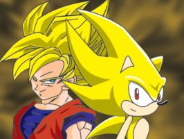 Super Sonic and Goku by TheWax