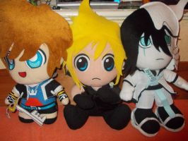 Plush Sora, Cloud and Ulquiorra by KasumiKetchum