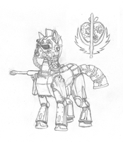 Fallout Equestria: Steel Ranger Sketch by StormCrow-42