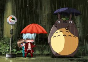 .:In the rain with Totoro:. by Zafiro-Chan