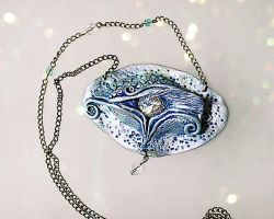 Ice Dragon Eye Necklace by PixiesLot