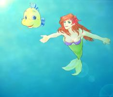 Ariel and Flounder by security-blanket