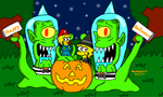 Halloween with Kang and Kodos by MarioSimpson1