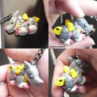 Metal Gaururumon Keychain by ChibiSilverWings