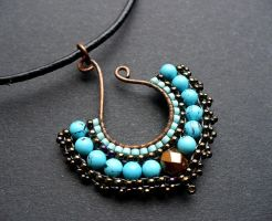 Turquoise beaded fan pendant by moonsafaribeads