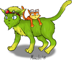 Jak and Daxter as cats by Memoski
