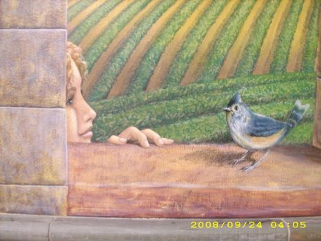 Close-up, girl and bird by MuralsbyLeBold
