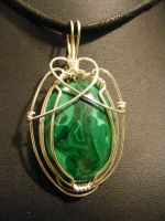 simple wrapped malachite in silver by BacktoEarthCreations