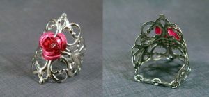 Filigree ring pink rose 1 by AngelElementsEtsy