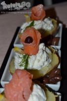 Baked potato with cheese and smoked salmon by DanutzaP