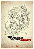 woman and simple heart by adhytcadelic