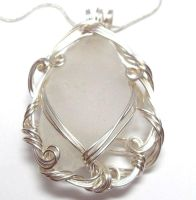 Frosty White Maine Sea Glass Necklace by sojourncuriosities
