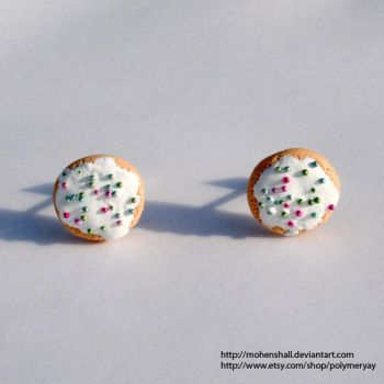 Polymer Clay Sugar Cookie Earrings by ShinigamiSoiree