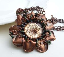 Green and brown copper flower necklace by CreativityJewellery