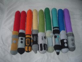 Crochet Lightsaber Rainbow COMPLETED!!!! by Nanettew9