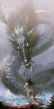 Dragon at the sea by Creative--Artists