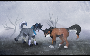 Sudden rainstorm, huh brother! by TrelDaWolf
