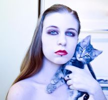 Vampire and kitty by Sinned-angel-stock