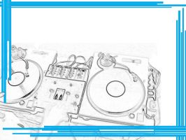 Turntables White and Blue by RenegadeOfTrance