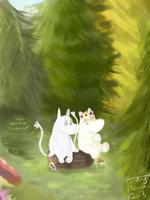 Moomin and Snorkmaiden by Flutter-Butter