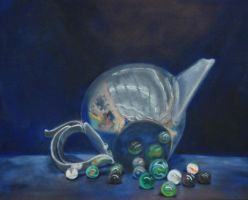 Tea Pot and Marbles by insanellamagirl