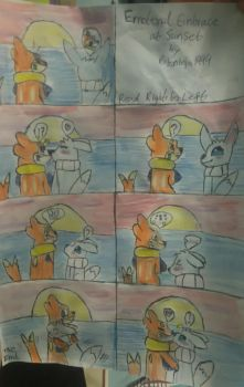 Emotional embrace at sunset comic by vocaloidninja1999