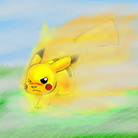 Pikachu: foggy volt tackle by Spottedfire-cat