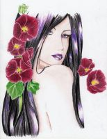 GIFT - Niluviel (Mab) with red blood hollyhock by Edl0thia