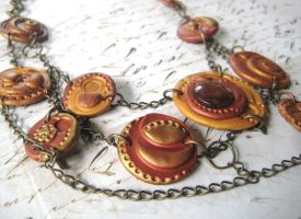 Steampunk Chained Disc Necklace by RoyalKitness