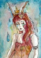 Tears of the faun ACEO by dyingrose24