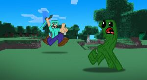 Minecraft Fan Art: Chasing Creepers by MikeOrion