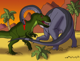 Sharptooth vs Mama Longneck by BrandonSPilcher