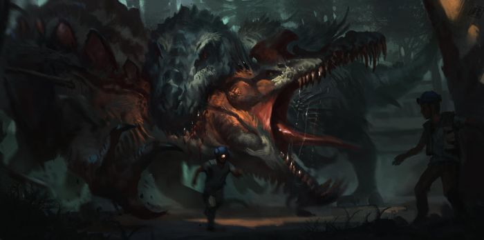 DinoHybrids - Therospinax vs. Belial by Raph04art