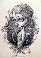 Girl with Crows by mai-coh