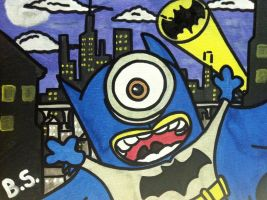 Despicable me minion batman painting finished by sampson1721