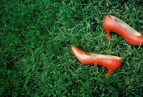 Orange Pumps in Grass by PlutoHasCows