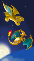 Charizard and Dragonite... by Ducklife3334